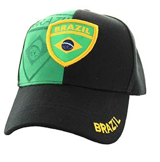 ef036706bd1 Brazil Country Flag Brazilian National Pride Hat - 100% Cotton Embroidered  Cap (Black)