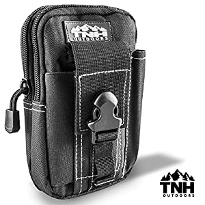 #1 Premium EDC Cell Phone Molle Waist Pouch by TNH Outdoors Small Hip Or Leg Gear Holster; Tactical Gadget Mag or Ammo Holder Bag