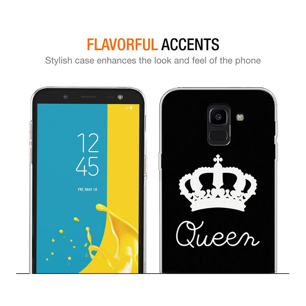 YOEDGE Funda Samsung Galaxy J6 2018, Silicona Ultra Slim Cárcasa con King Queen Diseño Patrón Bumper Case Cover Fundas para Samsung Galaxy J6 2018(Queen, ...