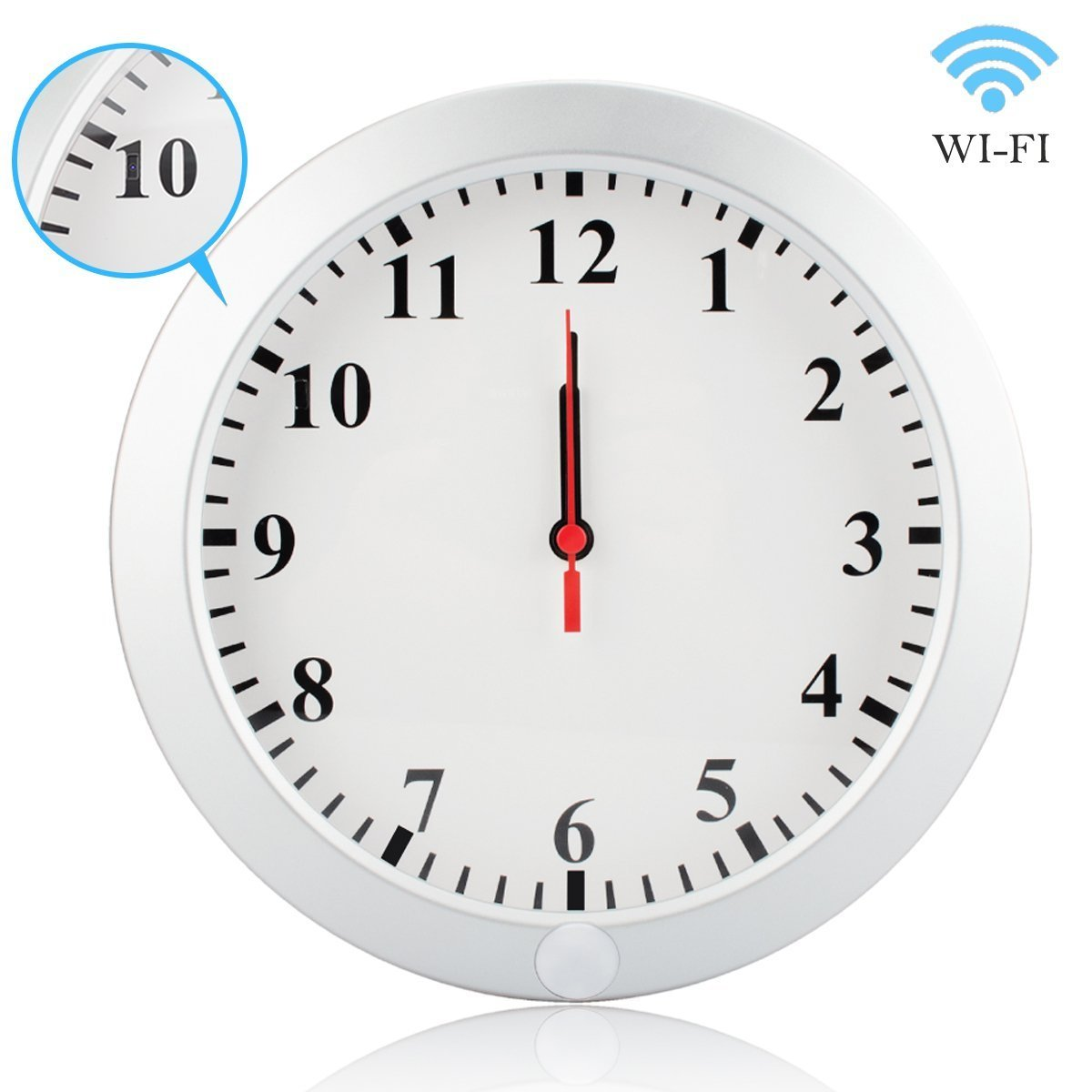 DareTang Upgraded 1080p HD Wifi Wall Clock Hidden Ip Home Security Camera 5000mAh Battery for Long Term Standby Motion Detected Home/office/pet/baby Nanny Surveillance Covert Cam Free Android Ios App