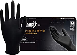 (In Stock) Industrial Black Nitrile Glov-es, 5 mil, Latex Free, Powder Free, Textured,Tattoo Disposable Glov-es, Food Grade Water-Proof G-loves for Protection and Laboratory (100pcs, 5 mil, S)