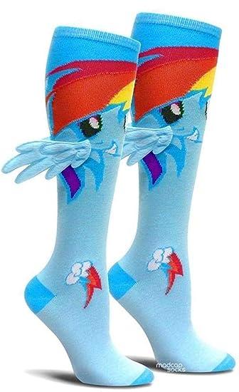 f947a8f2dcb Amazon.com  Bioworld My Little Pony Rainbow Dash Knee High Socks with  Wings  Clothing