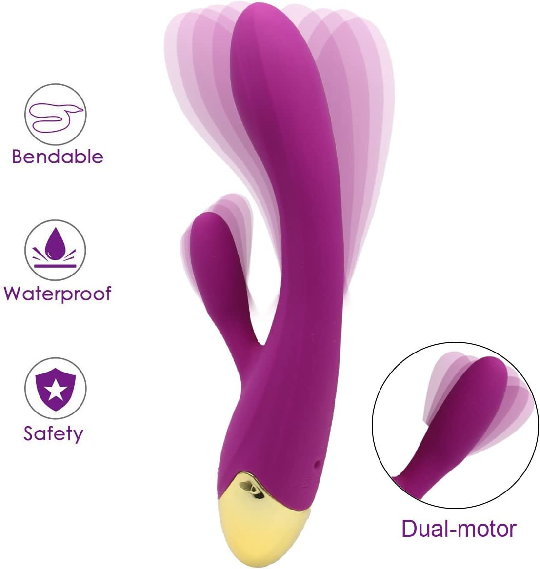 Computer Portable LED Massager Strongest Waterproof Cordless Handheld – Perfect Relief on Neck, Back, Foot, Hand Pains Sports Injury Dark Purple