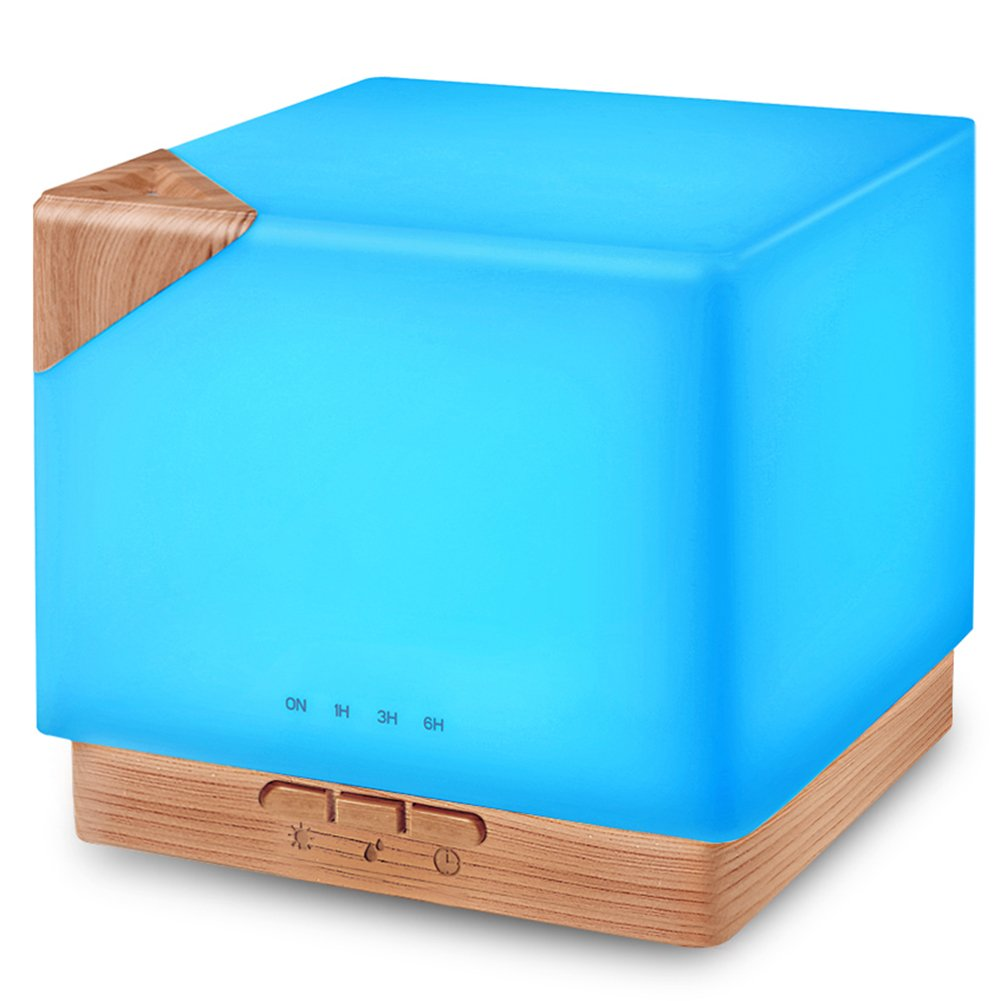 Square Aromatherapy Essential Oil Diffuser Humidifier, 700ml Large Capacity Modern Ultrasonic Aroma Diffusers Running 20+ Hours 7 Color Changing for Home Office Bedroom Living Room Study Yoga Spa by URPOWER (Image #1)