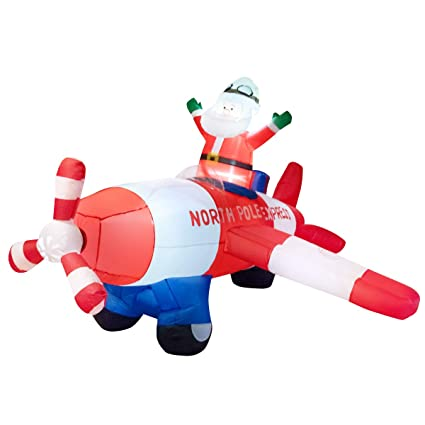 Tangkula 8 Ft Inflatable Christmas Santa Claus Blow Up With Airplane Classic Christmas Decorations With 3 Sets Of Led Bulbs Outdoor Indoor Holiday