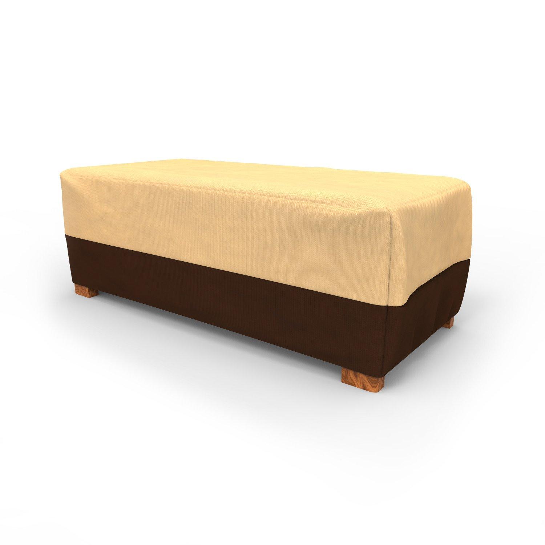 Budge All-Seasons Slim Patio Ottoman Cover/Coffee Table Cover, Large (Khaki Brown)