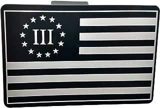 "product image for HMC Billet American Flag 3% Aluminum Laser Engraved Trailer Hitch Cover - 4"" x 6"""