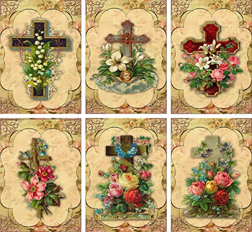 (Vintage 6 Easter Antique Crosses Flowers Note Cards Tags With Envelopes)