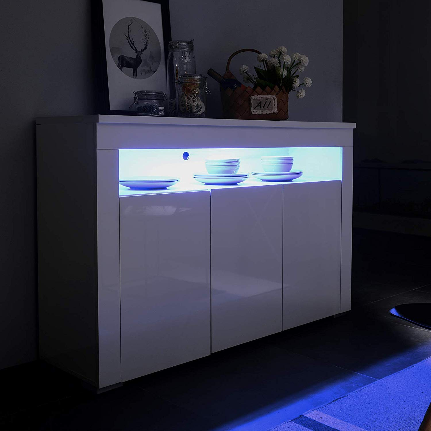 Mecor Kitchen Buffet Cabinet,High Gloss LED Sideboard,Storage Server Table with 3 Doors and Open Topper Shelf,White
