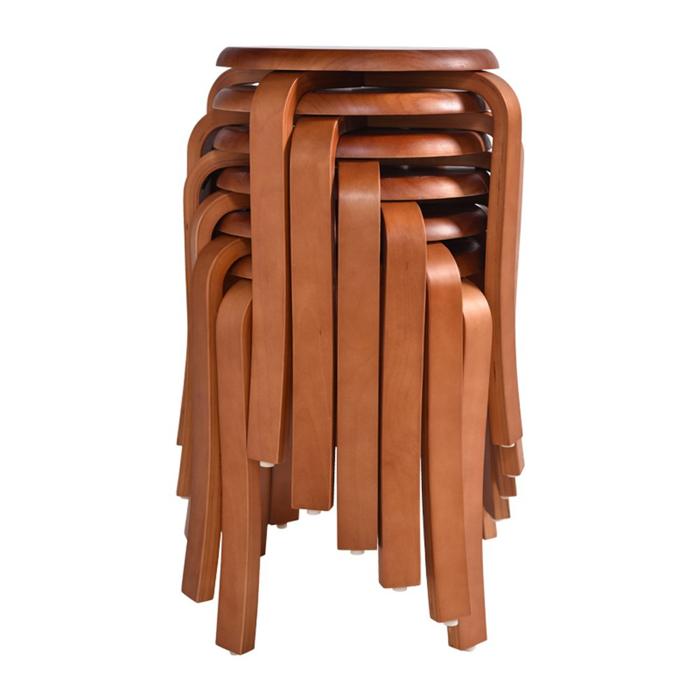 Solid wood stools, creative dining stools, fashion benches, home table and stools, low stools, round stools, multicolor options, easy installation, convenient stacking, D: 31cm, H: 45cm (Color : B) by PM-Stools (Image #3)