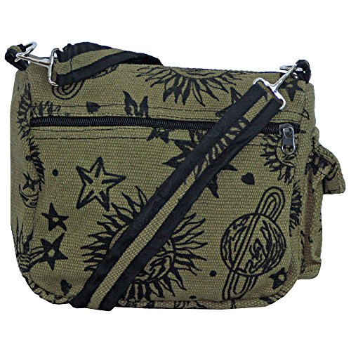 Sun Moon Stars and Planets Celestial Hippie Boho Crossbody Single Shoulder Bag (Green)