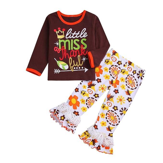 YanHoo Ropa para niño Camiseta de Manga Larga con Estampado de Letras de acción de Gracias para niños + Pantalones de Trompeta con Paneles de Encaje ...