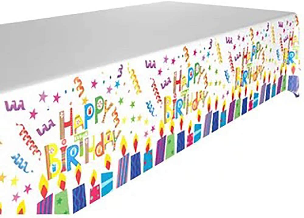 Birthday Party Table Cloth of Disposable Plastic Rectangular Table Cloth Plastic Table Cover Birthday Party Decor for kids 52 x 87 inches 1 Pieces