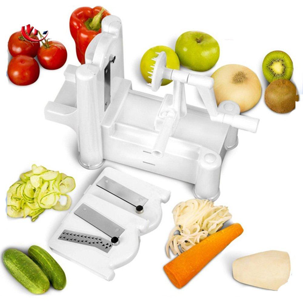 Mhhpek Spiral Slicer 3 in 1 Tri-Blade Plastic Spiral Daikon Slicer Vegetable Slicers