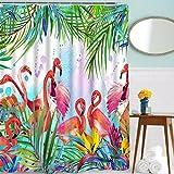 Pink Flamingo Shower Curtain Hooks Sunm Boutique Bathroom Shower Curtain Flamingos Shower Curtains Set 12 Hooks Included, Waterproof Durable Fabric Bath Curtains Anti-Mildew Odorless Bathroom Decoration