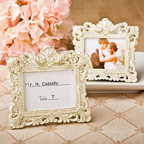 Vintage Style Baroque Design Placecard Holder or Picture Frame by (Grande Baroque Gold Accent)