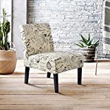 Harper&Bright Designs Fabric Accent Chair Living Room Armless Chair Solid Wood Legs (Beige&Script) Review