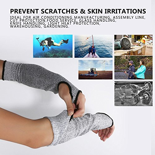Cut Resistant Sleeves with Thumb Hole, Level 5 Protection, Slash Resistant Safety Protective Arm Sleeves, 14 inch long, Large (Arm width 4-8 inch)sold by Pair(2 Pieces)