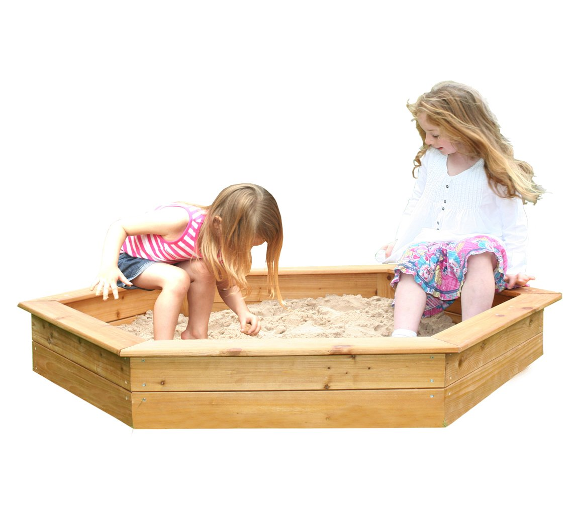 Garden Games 1.5m Hexagonal Wooden Sand Pit with Cover and Underlay BabyLand 6402