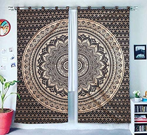 Valance Tapestry - Hippie Gypsy Home Decor Window Treatments & Valance Bedroom Decor Living Room Decor Handmade Wall Hanging Boho Door Cotton Ethnic Curtain Bohemian Mandala Tapestry Curtain Indian Drapes Panel Set