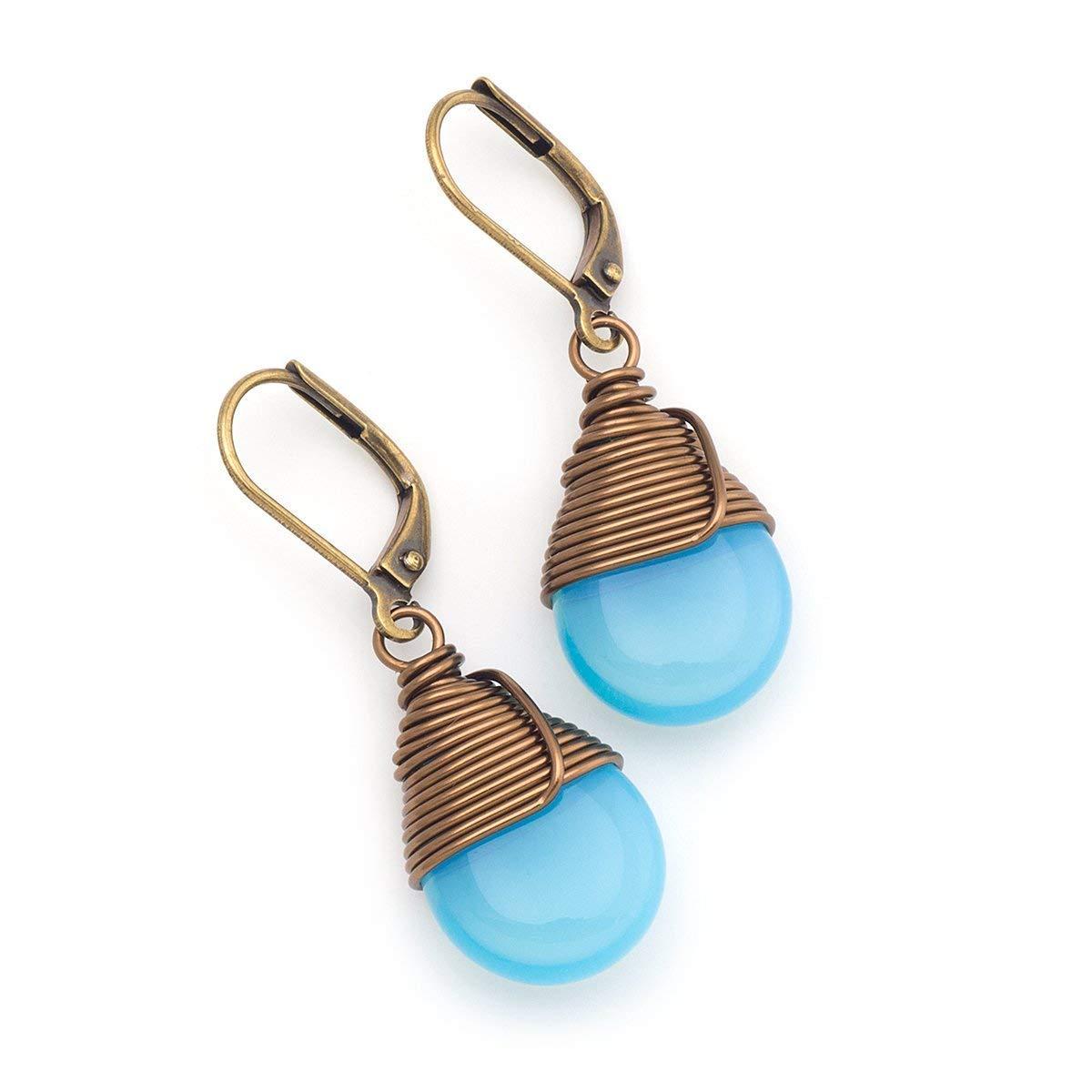 Antiqued Copper and Aqua Czech Glass Earrings