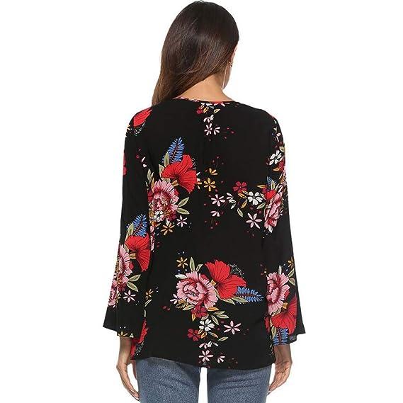 Amazon.com: Micoop - Blusa de gasa para mujer, cuello en V ...