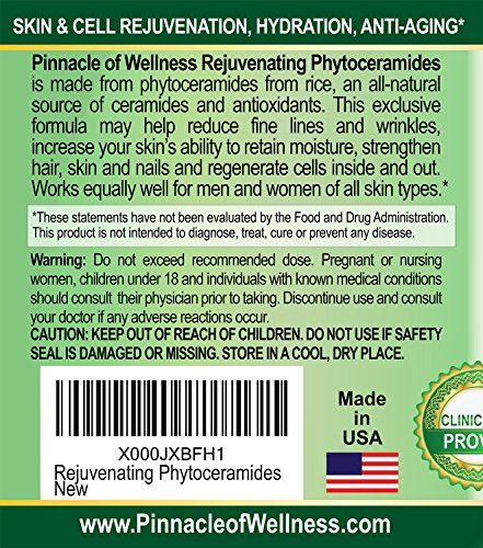 Pinnacle of Wellness Rejuvenating Phytoceramides, Skin, Hair and Cell Renewal Capsules for Women and Men (40 Mg. 30 Capsules)