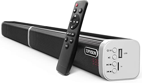 Sound Bar, TOPVISION Detachable Stereo Soundbar 60 Watt and 39-inch Subwoofer Inside, Strong Bass Wired and Wireless Bluetooth 5.0 Audio Speakers for TV 2019 Updated Version