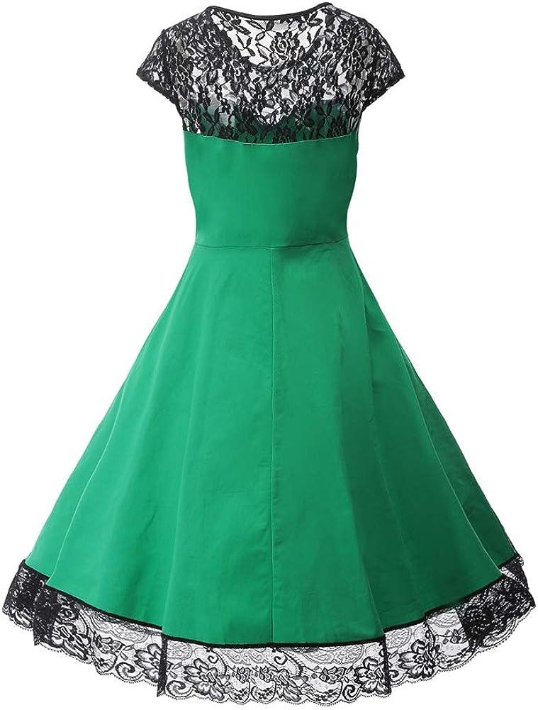 Taigood Swing Dress a-Line da Cocktail Party in Pizzo con Scollo a V e Scollo a V in Pizzo Floreale Vintage da Donna