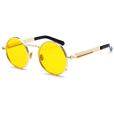 Kennifer Gafas de Sol Redondas Ronda Marco de Metal Eyewear Círculo Espejo Gafas UV400 Para Hombres y Mujeres