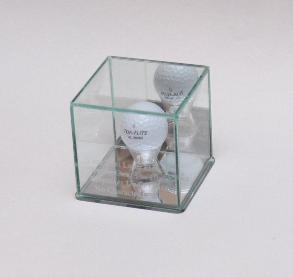 Golf Ball Hole in One Personalized - Etched Glass Display Case - Custom Stand