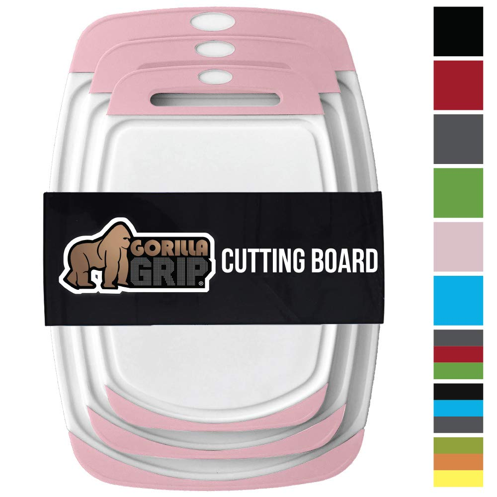 GORILLA GRIP Original Reversible Cutting Board (3-Piece), BPA Free, Juice Grooves, Larger Thicker Boards, Easy Grip Handle, Dishwasher Safe, Non-Porous, Extra Large, Kitchen (Set of Three: White/Pink)