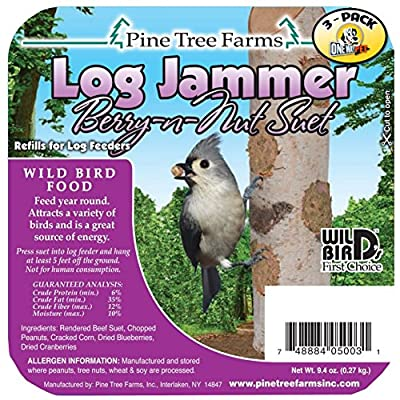 Pine Tree Farms Log Jammers Berry N Nut Suet Plug Suet (Pack of 3)