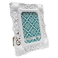 Porta Retrato Vintage Branco 10X15CM Glamour Vidro 2mm