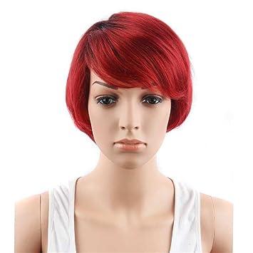 Peluca Europa Y Los Estados Unidos De Moda De La Señora BOBO Cabeza Roja Cabello Liso
