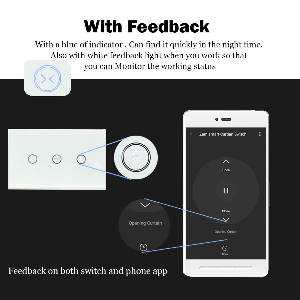 US Type Wifi Smart Curtain Motor Switch APP or Voice Control by Alexa Echo  AC110 to 240V Work with Electric Roller Blinds Curtains Motor with Control