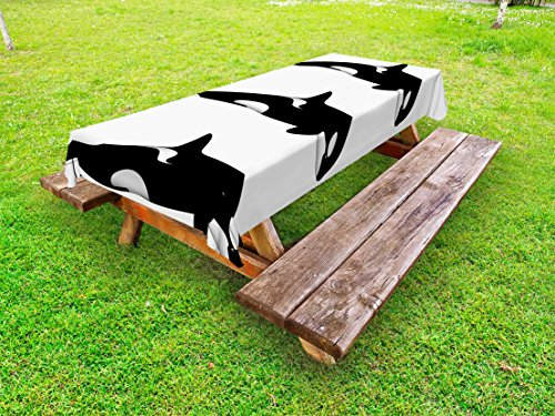 Ambesonne Sea Animals Outdoor Tablecloth, Three Orca Killer Whales in Different Illustration Black and White Style, Decorative Washable Picnic Table Cloth, 58 X 84 Inches, Black and White ()