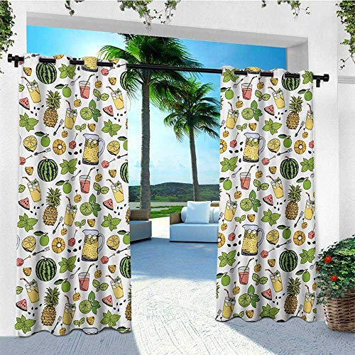 leinuoyi Tropical, Outdoor Curtain Ties, Summer Holiday Pattern with Fruits and Cocktails Refreshments Juice and Drinks, Fabric by The Yard W108 x L96 Inch -