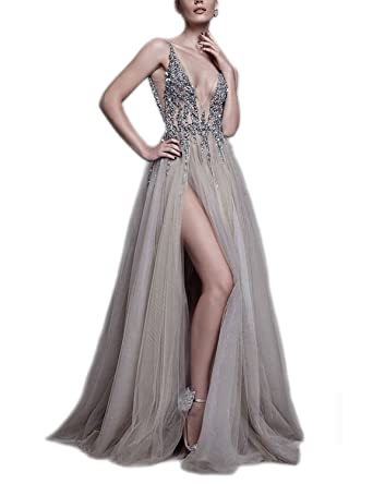 Muisal Womens Deep V Neck Beaded Sexy Evening Prom Dress with Slit Grey Custom