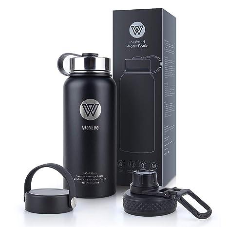 WayEee 950ml Botella de Agua Térmica Botella Termo Acero Inoxidable con 3 Tapas Intercambiables Botella Agua Deporte sin BPA Cantimplora Aislada ...