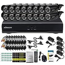 KKmoon Home Surveillance Security Camera System CCTV Kit with 16CH 960H D1 DVR and 16pcs 800TVL IR Weatherproof Cameras
