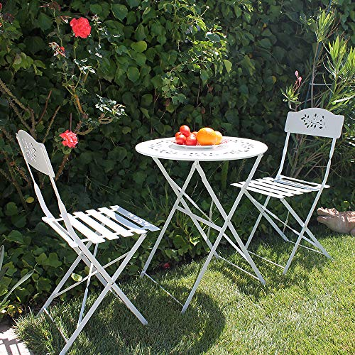 OC Orange-Casual 3-Piece Floral Bistro Set, Steel Folding Dining Table and Chairs Garden Backyard Outdoor Furniture Set, Decorative Design-White (Set Bistro Patio White)