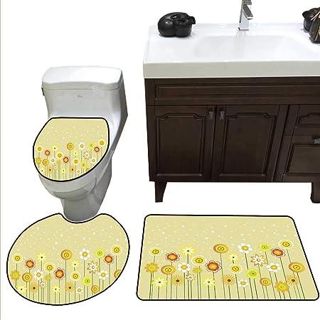Jaune Chevron Ensemble de tapis de salle de bain moderne ...