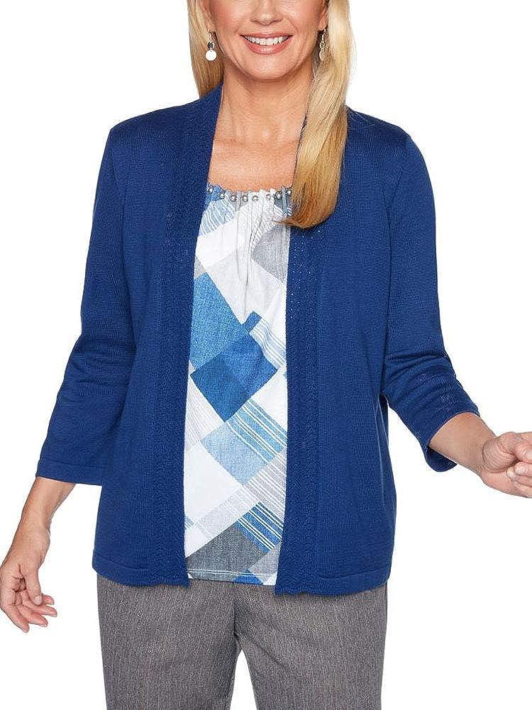 Alfred Dunner Womens Sapphire Skies Diamond Inner 2Fer Sweater