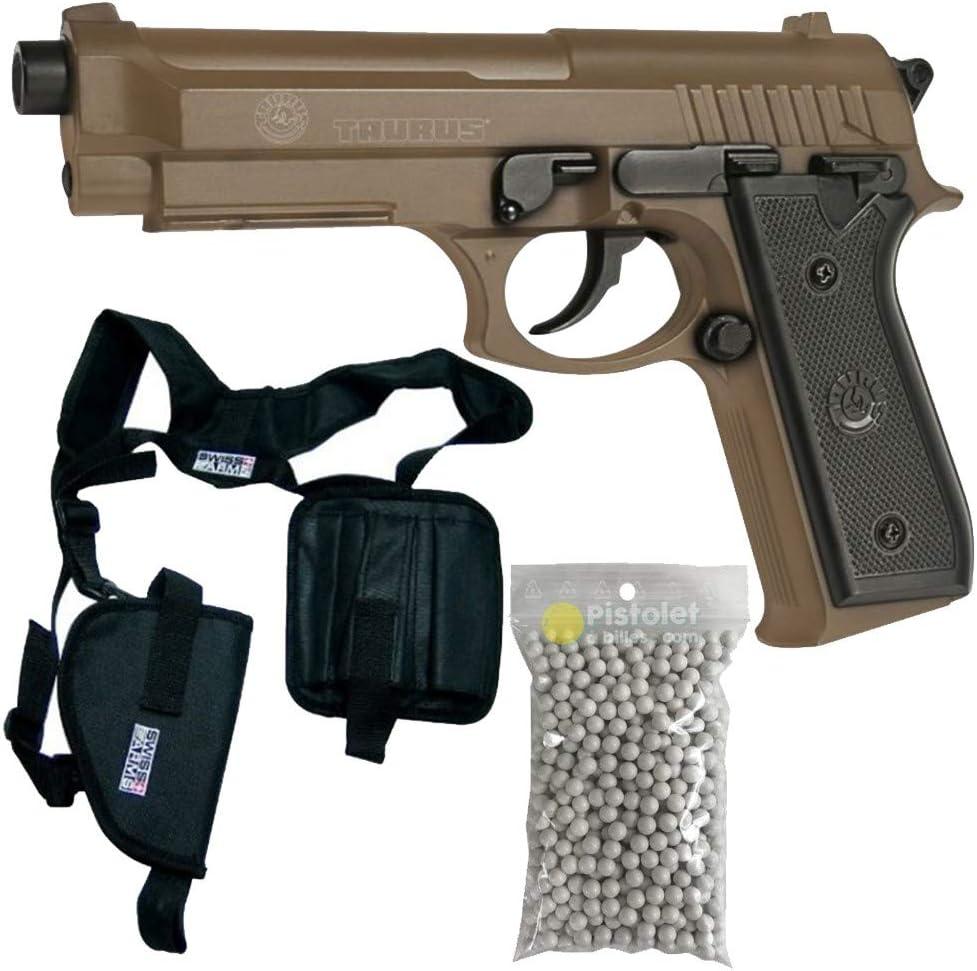 KWC Paquete Completo con Accesorios - Pistola para Airsoft, Modelo Taurus PT92, a Muelle/Spring, Culata de Metal, 0,5 Julios, Color Desierto, Recarga Manual