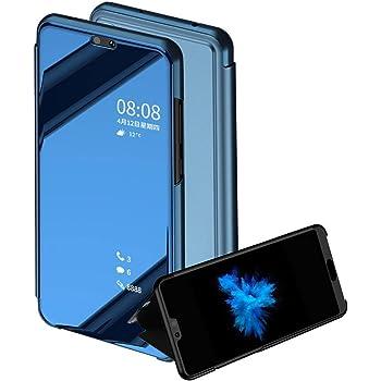 TaiY Ultra Delgado Translúcido Espejo con Función Kickstand Flip Funda Carcasa Case + Cristal Templado para Huawei P20 Lite - Azul