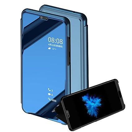 BCIT Huawei P20 lite Funda - Modelo inteligente Fecha / Hora Ver Espejo Brillante tirón del caso duro Con para el Huawei P20 lite - Azul