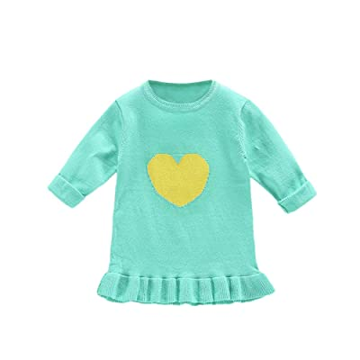 Birdfly Toddler Girls Heart Design Knit Sweater Cute Ruffle Top Kids Fall Winter Clothes Outfits