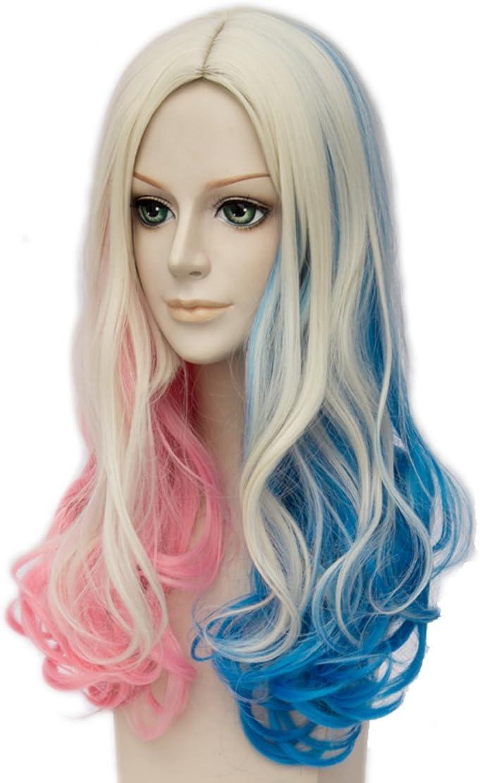 Topcosplay Parrucca Harley Quinn Cosplay Parrucche da Donna Rosa Blu Bionda Lunga Riccia Parrucca Perfetto per Il Carnevale e Halloween
