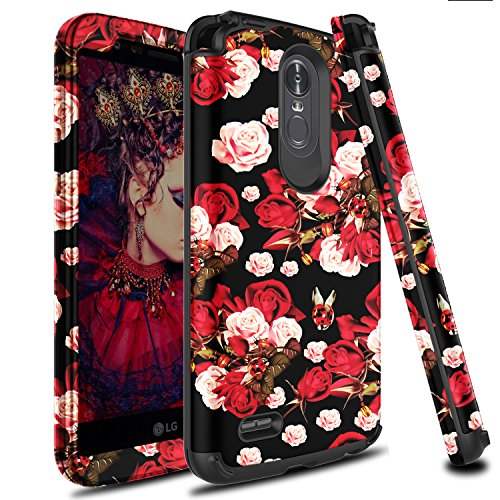 LG Stylo 3 Case, LG Stylus 3 Case, Zenic 3 in 1 Hybrid Shockproof Hard Protective Case Cover for LG Stylo 3/Stylus 3/LS777-Fresh Rose Flowers Case